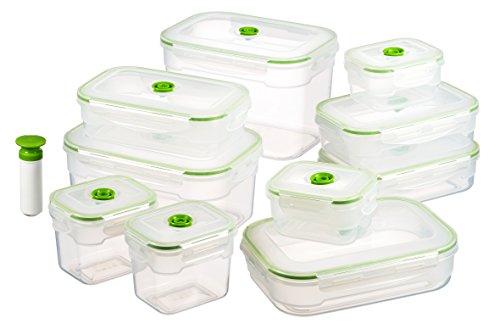 Vacuumsaver, contenitori sottovuoto per alimenti con pompa, in diverse misure, 10 pz.