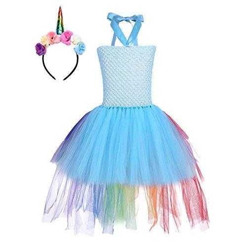 (Tiaobug Mädchen Einhorn Kostüm Set Prinzessin Kleid + Blumen Haarband Haarreif für Kinder Weihnachten Verkleidung Karneval Party Halloween Festkleid Himmel Blau 98-104/3-4 Jahre)