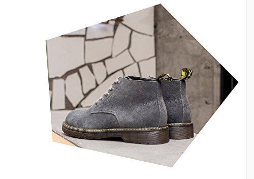 HL-PYL-Cashmere versione coreana di Martin stivali per aiutare le scarpe di cuoio stivaletti stivali rétro gray