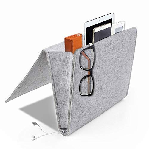 Electronic Pocket Organizer ([Upgraded Version] Daite Super Thick Filz-Bett-Caddy-Organizer für Telefon, Fernbedienung, Magzine etc. Karton eingesetzt, innen 2 kleine Taschen und Seitenloch für Aufladungskabel (Hellgrau))