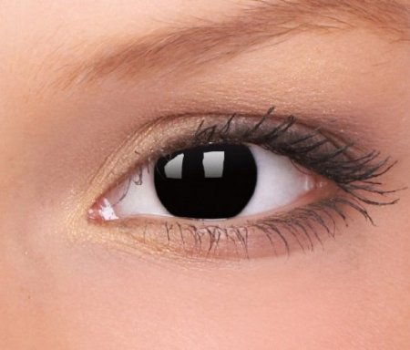 Farbige Schwarze Halloween Crazy Funlinsen contacts BLACK OUT. 1 Paar mit gratis Linsenbehälter-Eye Effect - für Halloween, Karneval, Fastnacht, Fasching, Kostüm-fest - Dämon, Vampir, Geist, Metatron