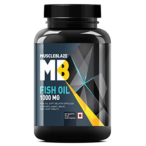 MuscleBlaze Omega 3 Fish Oil 1000 mg (180mg EPA and 120mg DHA) - 90 Softgels