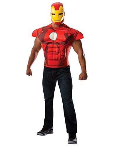 Deluxe Zubehörset, Iron Man Marvel Comics Herren T-Shirt Muscle CHEST-Set, Standard, 111.76 Brust (Man T Kostüm Shirt Iron)