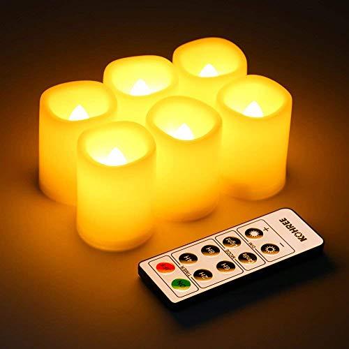 Set di 6 candele a led con controllo remoto timer, candele inodore senza fiamma , dia. altezza 3.8 cm x 4.8 cm, candele operative a batteria, decorazioni natalizie / matrimonio