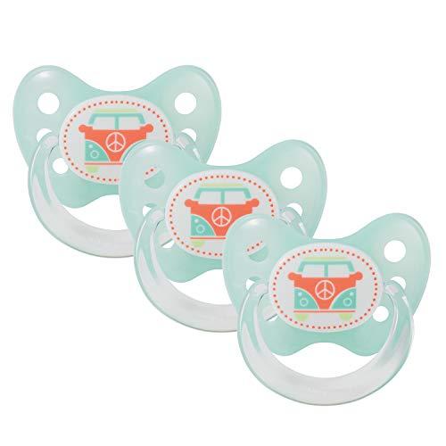 Dentistar® Schnuller 3er Set- Nuckel Silikon in Größe 2, 6-14 Monate - zahnfreundlich & kiefergerecht - Beruhigungssauger für Babys - Türkis Bus