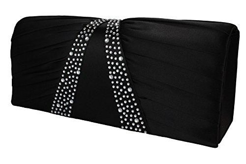 Edle Damen Handtasche / Clutch / Brauttasche / Abendtasche mit Strasssteinen besetzt in champagner, rosa, rose, rot, royal, schwarz, silber oder weiss Schwarz
