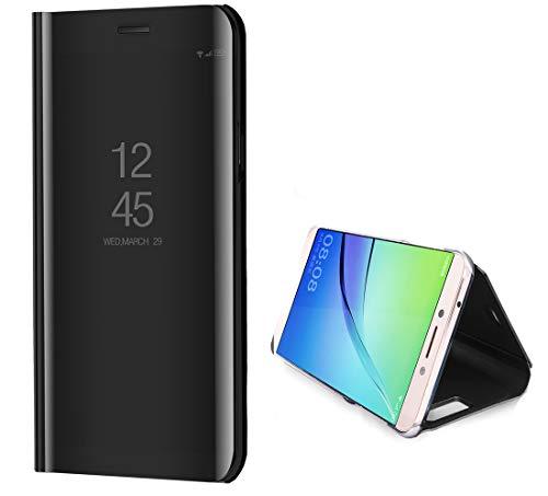 Samsung Galaxy J72018Fall, Durchscheinend View Fenster Front Cover Spiegel Bildschirm Flip Smart Galvanisiert Ständer Full Body Schutzhülle Galaxy J72018/J7Aero/J7Top/J7Aura 2018, schwarz