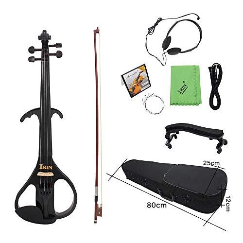 ammoon 4/4 plein Oberfläche Violine Elektrische Mehrfarbig Ahorn Instrument Streichinstrumente Ebony Fretboard Kinnhalter mit 1/4 Anschlusskabel Kopfhörer Case für Student MwSt. Anfänger