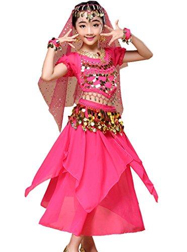 Astage Mädchen Kleid Bauchtanz Indianisch Halloween Karneval Kostüme XS Hotpink