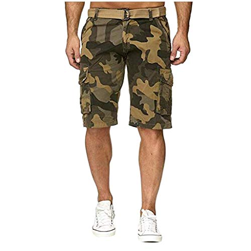 Badehose Kurze Hose Herren Sportshorts Xjp MäNner KnöPfen Camouflage Gedruckt Baumwolle Multi Pocket Arbeitskleidung Shorts Mode Hosen Laufshorts Freizeitshorts Heimhosen(34, Gelb) -