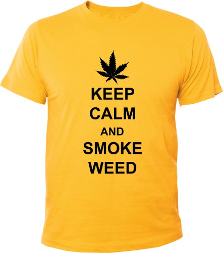 Mister Merchandise Cooles Fun T-Shirt Keep Calm and Smoke Weed Gelb