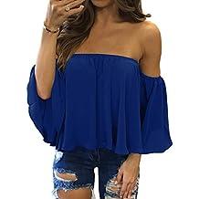 Imixcity Chic Top Femme Été Épaules Nues Bateau Lâche Haut Blouse T-shirt avec 3/4 Manches