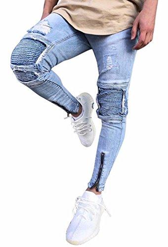 minetom uomo jeans pantaloni cuciture fit distrutto pantaloni denim alla moda con cerniera skinny pants jeans strappati - 41qUbegIffL - Minetom Uomo Jeans Pantaloni Cuciture Fit Distrutto Pantaloni Denim Alla Moda Con Cerniera Skinny Pants Jeans Strappati