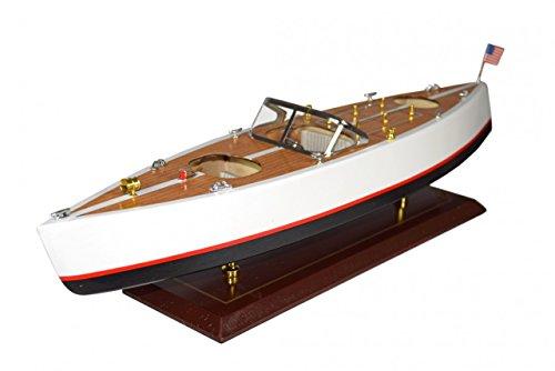 Navyline Holz Modellboot mit Standfuß - Amerikanisches Motorboot - Länge 60cm