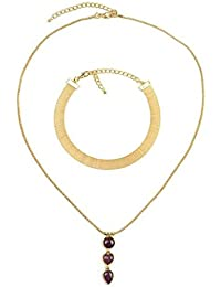 Chooseberry Gold Plated Multilayered Choker Necklace For Women With Long Chain Pendant Stylish Party Wea