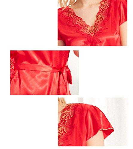 Frau Sommer Lässig Kurzarm V-Ausschnitt Bestickt Sexy Pyjamas Nachthemden Red