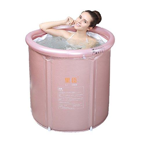 Faltende Badewanne JCOCO Erwachsene Netz-Stent-aufblasbare Plastikhaushalt-Badewannen-dauerhafter Schmutz/justierbare Höhe/einfach zu Falten Rosa, gelb (65 * 75cm, 75 * 80cm) -