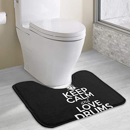 """Hoklcvd Behalten Sie Ruhe und Liebe Trommeln U-förmige Toilette Boden Teppich Rutschfeste Toilette Teppiche Duschmatte 15,7""""x 19,3"""""""