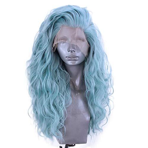 e Perücken für Frauen Lace Front Perücke Blau Perücke Damenperücke Natural Long Wave Hair Wigs Haar Perücken Schulterlang Glatte Perücke Cosplay Party Perücke (Blau) ()