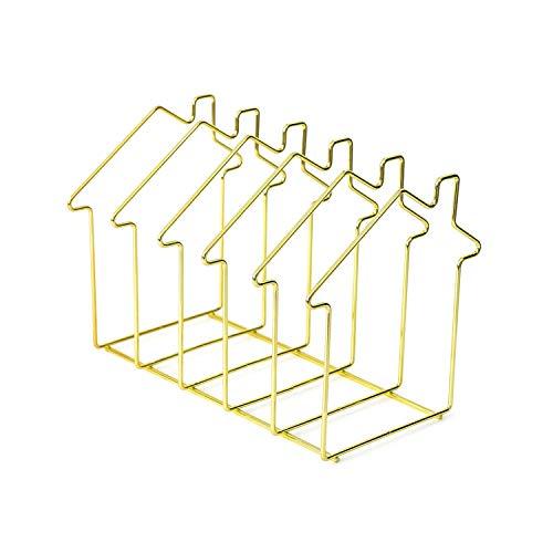 Einfaches Nordic Iron Art Desktop Storage Rack-Bücherregal Magazin-Halter-Organisator-Zahnstange für Dokumentordner Brief Haus-Form, als Shown4 -