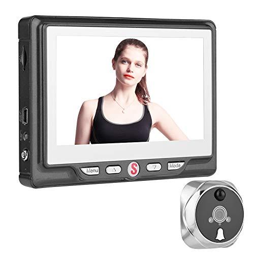 VBESTLIFE Digital Türspion & Türklingel,Digitaler Türspion,4,3 Zoll LCD Bildschirm Türklingel,24 Stunden Sicherheit 3X Zoom Türspione Kamera mit 120 ° Viewer