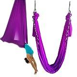 Wellsem®5.5 Yards(5m/set) Elastic Pilates Yoga Swing Aerial Yoga Hammock with Carabiner&daisy Chain (Violet)