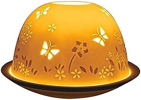 White Fine Porcelain Butterflies Lithophane Tea Light Holder