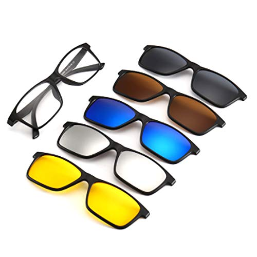 hlq Men es Sonnenbrille, Universal Outdoor Gläser, UV400 Polariisierte Lens Retro Magnetic Clamps Sichtbare Lichtperspektive 99% Ultra Light 6 Piece Set,2266