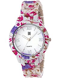 Excelencia CW-23-Pink & Lavender Floral Print Analog Watch- For Women