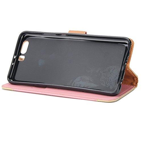 Gemischte Farben Rose Blume matt Premium PU Leder Brieftasche Stand Case Cover mit Lanyard & Card Slots für Huawei P10 Plus ( Color : Gold ) Pink