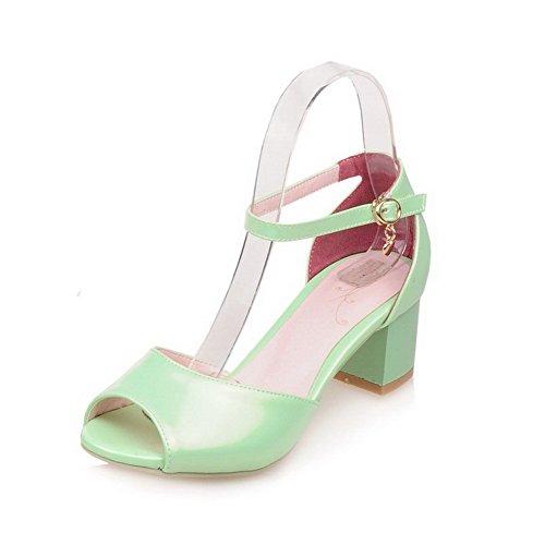 VogueZone009 Donna Fibbia Sbirciare Tacco Medio Luccichio Puro Sandali Verde