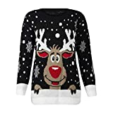 BaZhaHei Women's Christmas Jersey Reindeer Patterns for Women Floral Print Women's Women's Blouse for Women's Elk-Print Long Sleeve Jersey for Women Holiday