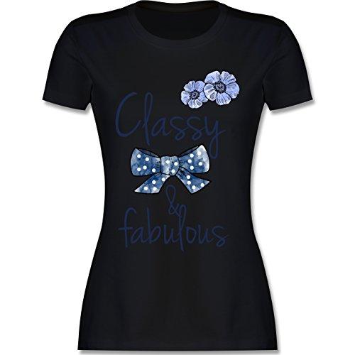 Statement Shirts - Classy and fabulous - tailliertes Premium T-Shirt mit Rundhalsausschnitt für Damen Schwarz