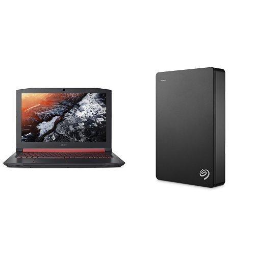 Acer Nitro 5 15.6-Inch Notebook (Intel Core i5-7300HQ, 8 GB RAM, 1 TB HDD, 128 GB SSD, NVIDIA GeForce GTX 1050, Windows 10) + 4TB Seagate Backup Plus External Hard Drive