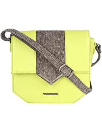 Veuza Berlin Premium Jacquard And Faux Leather Green Sling Bag