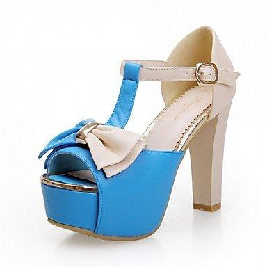 LQXZM Sandales femmes Nouveauté Confort synthétique PU Printemps Été robe décontracté en plein air Randonnée Confort Nouveauté Bowknot Ceinture Talon Blue