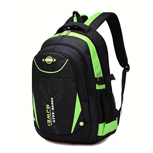 Schulrucksack,Nylon Rucksack für Kinder Junge Mädchen, Laptop-Büchertasche Umhängetasche Reisetasche Schulter Rucksack - Grün