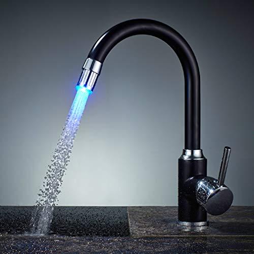 Auralum LED Küchen Wasserhahn Schwarz | 360° schwenkbare Küchenarmatur mit Temperaturanzeige | Armatur Küchenspüle Hochdruck (Küchenarmatur Led)