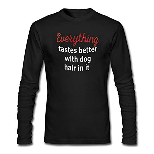 BHYDiness Mens Everything Tastes Better with Dog Hair Funny Tshirt -