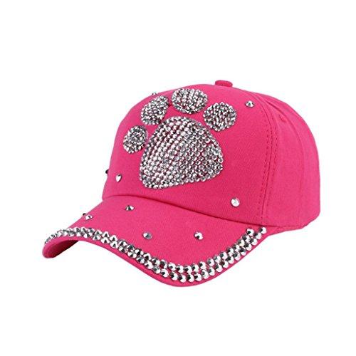 Mädchen Kinder-baseball-jersey (Cap Transer® Mädchen/Jungen Baseball Cap Hut Baumwolle Tatzenform Rhinestone Einstellbar Pink Blau Schwarz Beige Rosa Sonnenschirm Mützen Größe: 50-55cm (Pink))