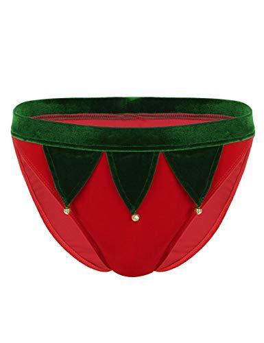 FEESHOW Herren Weihnachtskostüm Weiche Samt Slip Briefs mit unteren Glocken Männer sexy Dessous Cosplay Outfit Rot L