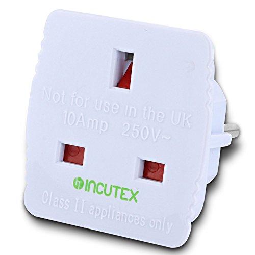 Incutex 1x adaptateur de voyage UK vers EU adaptateur UK France de prise anglaise 3 pôles à prise française 2 pôles, blanc