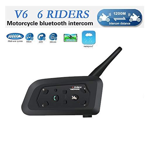 EJEAS V6 Moto Bluetooth Interfono per Casco Interfono, full duplex Interphone per moto senza fili Connetti fino a 6 Riders, Radio FM/GPS / MP4 / 1200M (1 pezzi)