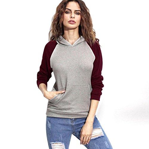 Bekleidung Longra Frauen lange Ärmel Hoodie Sweatshirt Pullover lässigen Kapuzen-Mantel Pullover