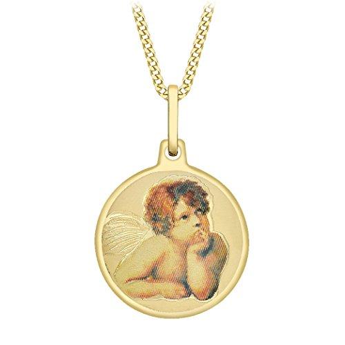 Carissima Gold Halskette 9 kt Gelbgold, rund, Cherub Anhänger an Panzerkette 46 cm/18 Zoll (Anhänger Cherub)