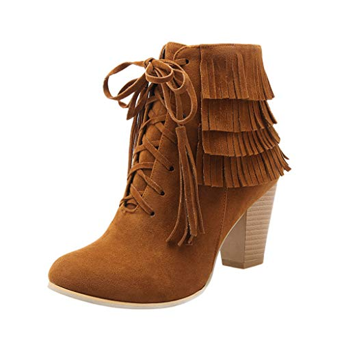 feiXIANG Damen Booties Schnürstiefeletten Round Toe Quaste Freizeitschuhe Frauen Mädchen High Heels Schuhe Herbst Winter(Gelb,40) -