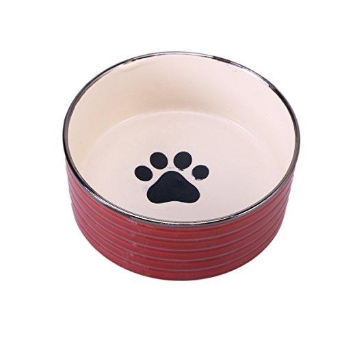 UKCOCO Keramik Haustier NAPF, Hunde Katzen Futternapf Wasserschale, Pfote Muster Hund Futternapf für Haustier Hund Katze Feeder (Dunkelrot)
