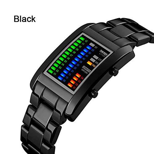 Fernando S.L 5ATM Reloj Digital para Hombre Reloj de Tiempo Binario Pantalla de aleación Impermeable Cronómetro Reloj Deportivo del ejército Creativo (Negro)