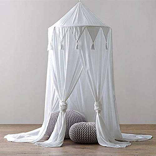 MMLsure® Moskitonetz Doppelbett,Mückennetz Bett, Baldachin Bett, Rundes Camping Netz, Betthimmel Vorhang mit Quasten Sternen Dekor,Einfache Anbringung & Tragetasche (weiß)