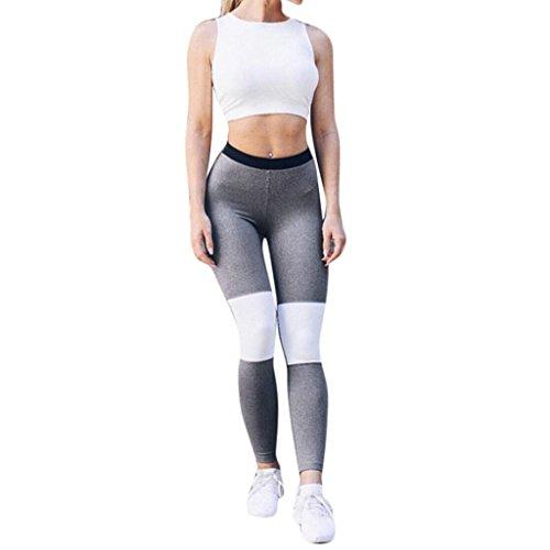 Pantalons courts femme,Tonwalk Yoga/Workout/Fitness/Running Leggings Taille haute Pantalons extensibles (Gris, Large)